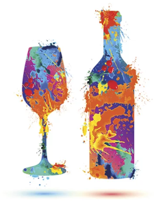 a-wine-glass-a-bottle-painted